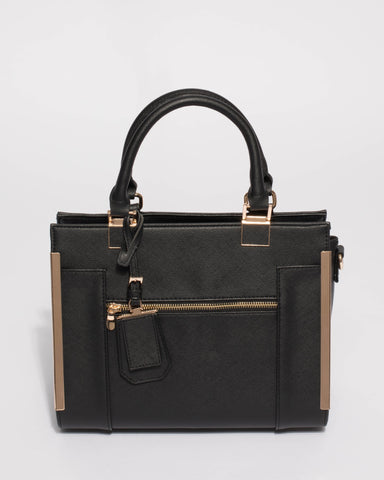 Black Saffiano Rosey Medium Tote Bag