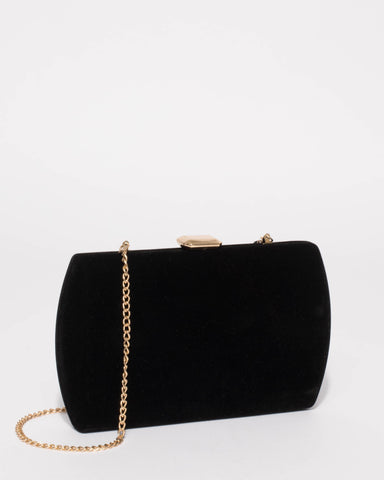 Black Velvet Ash Hardcase Clutch Bag