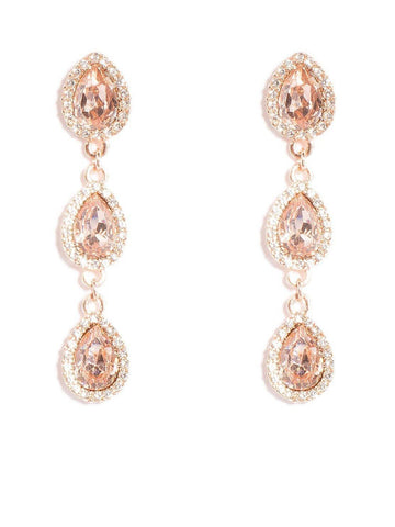 Pear Stone Pave Tiered Earrings