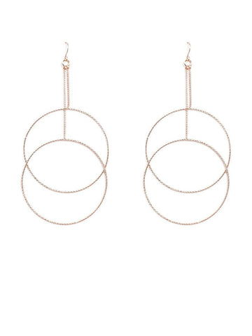 Fine Textured Double Circle Drop Earrings