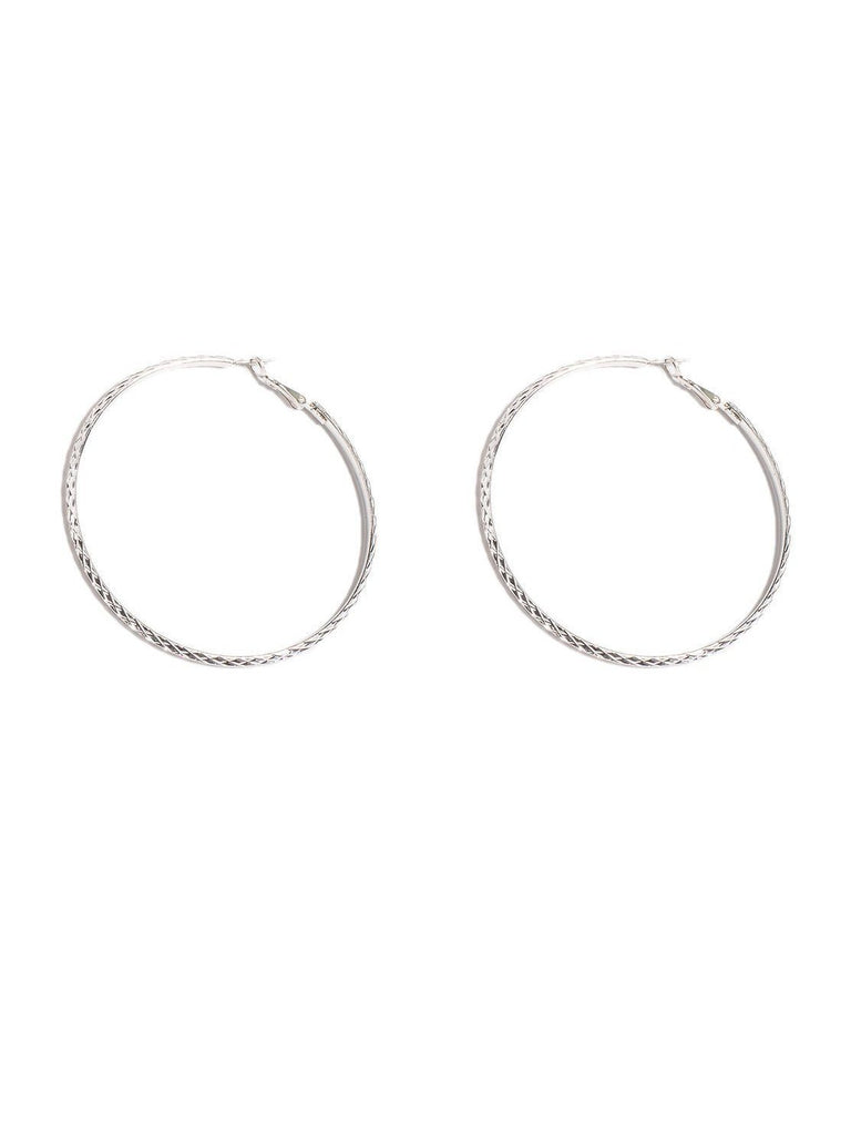 Textured 75mm Hoop Earrings