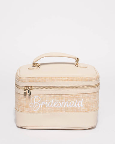 Natural Bridesmaid Weave Cosmetic Case