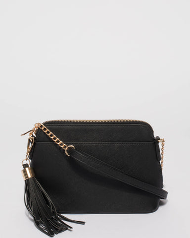 Black Saffiano Karen Crossbody Bag