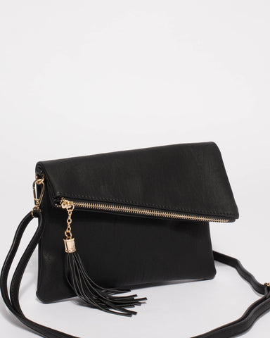 Black Gabi Foldover Clutch Bag