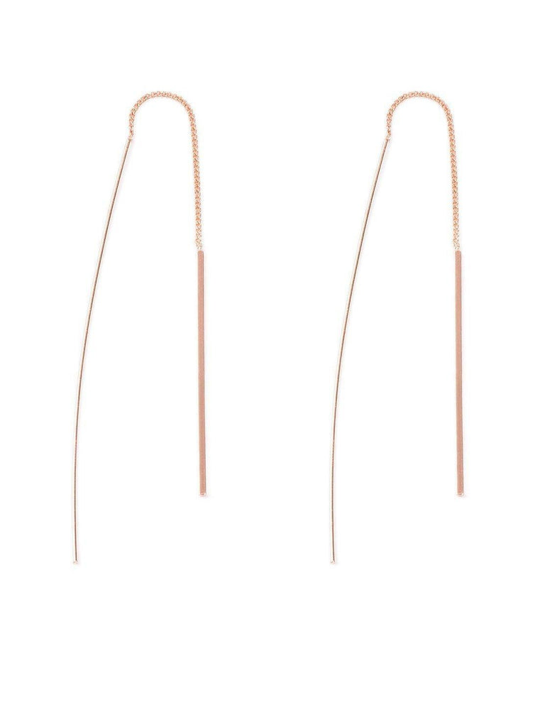 Fine Curved Bar Thread Earrings