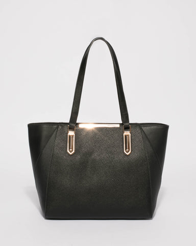 Black Domi Hardware Tote Bag Bag With Gold Hardware