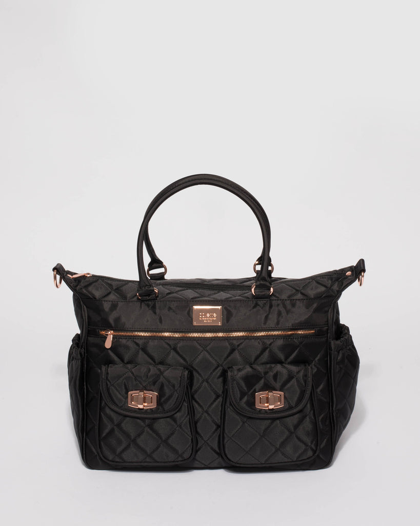 Black Quilted Travel Baby Bag With Rose Gold Hardware