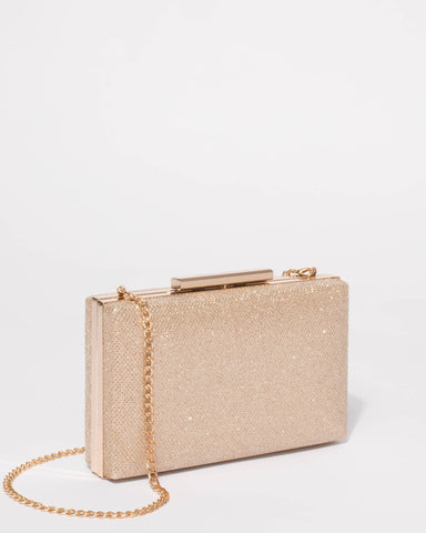 Jaimi Gold Glitter Textured Clutch Bag