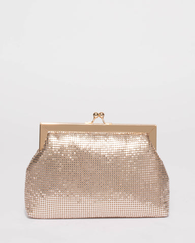 Gold Chainmail Clip Clutch Bag