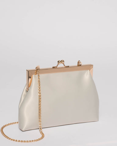 Ivory Satin Leila Clip Clutch Bag