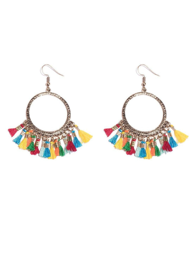 Round Tassel Drop Hoop Earrings