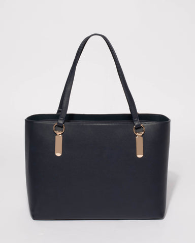 Navy Angelina Tech Tote Bag With Gold Hardware