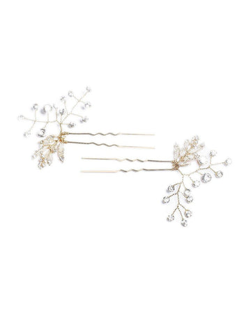 Diamante Stone Fine Leaf 2 Pack Hair Pins