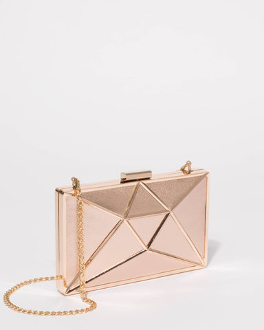 Rose Gold Geometric Large Clutch Bag