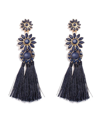 Floral Drop Tassel Earrings