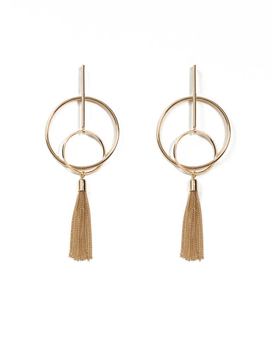 Gold Tone Circle On Bar Metal Tassel Statement Earrings