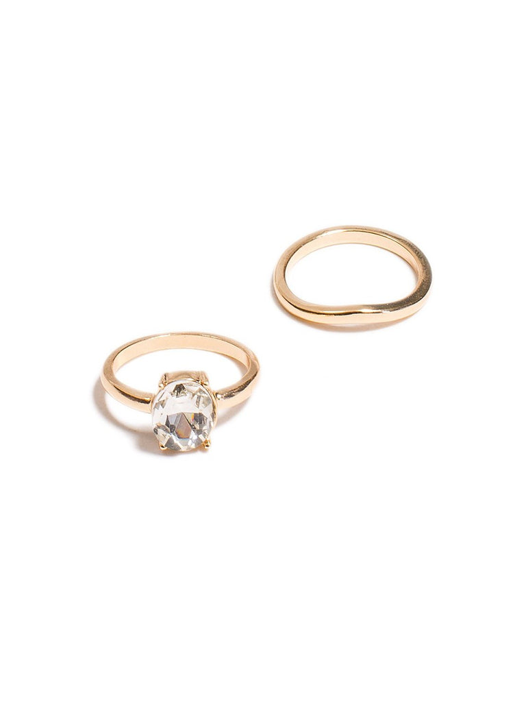 2 Pack Oval Diamante Ring - Medium