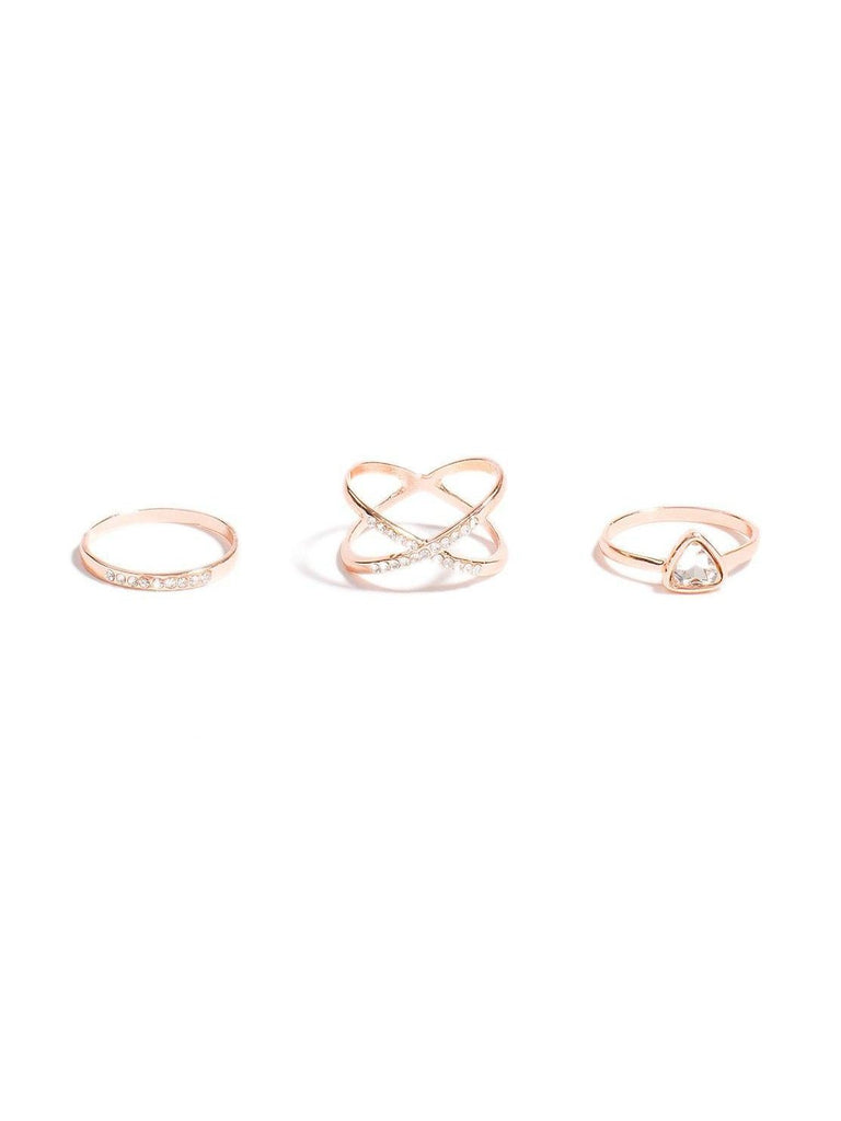 Crystal Arrow Crossover Ring Set - Medium