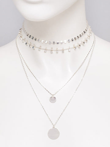 Disc Pendant And Choker 3 Pack Necklace