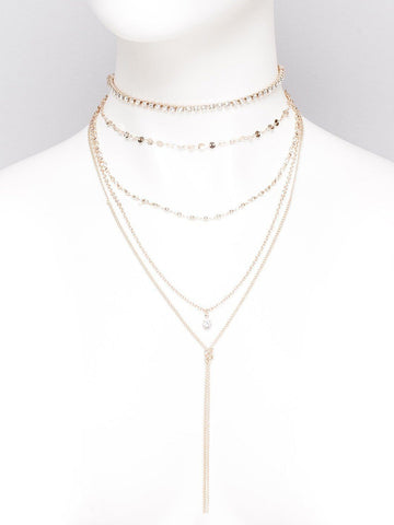 Diamante Cup Chain Lariat Choker Necklace