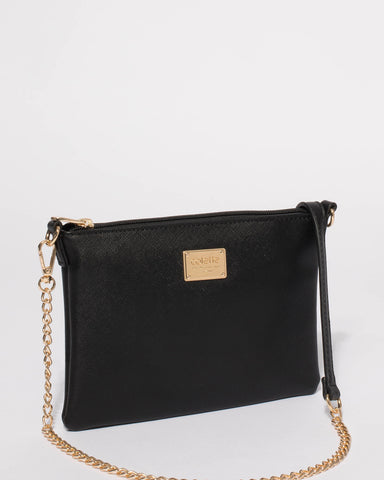 Black Saffiano Plain Peta Chain Crossbody Bag With Gold Hardware