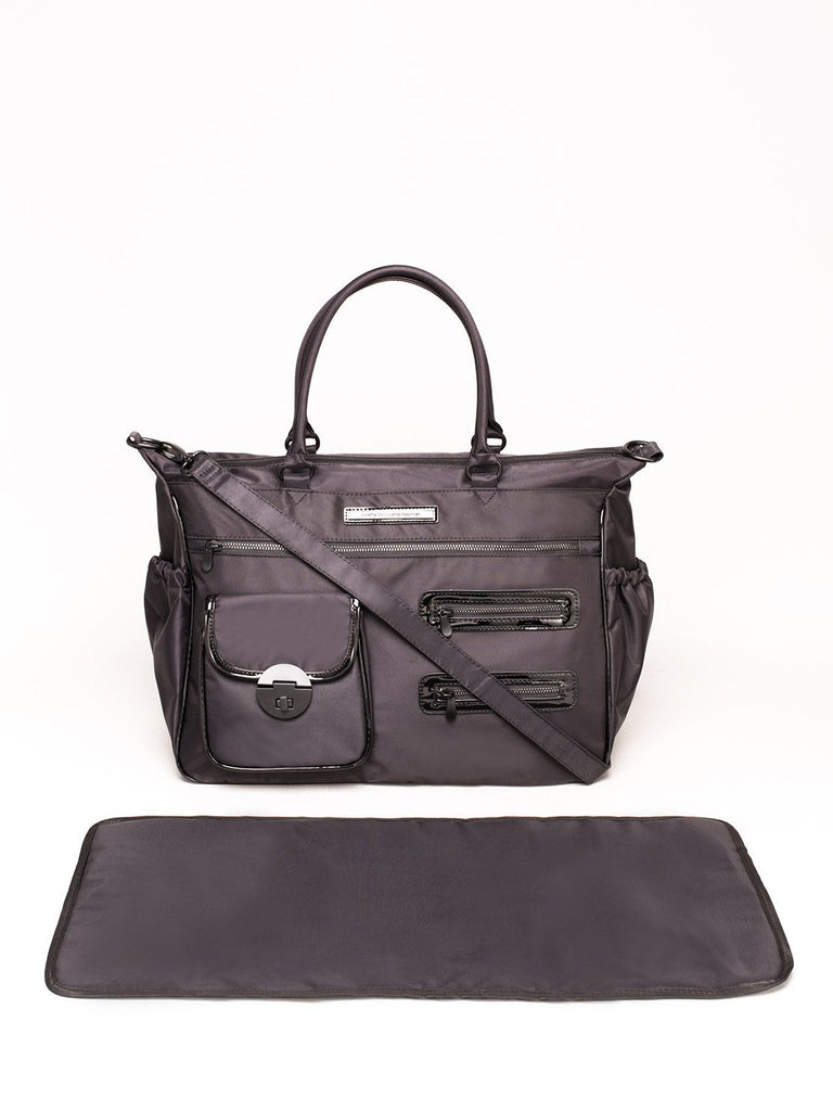 Black Nylon Pocket And Zip Baby Bag