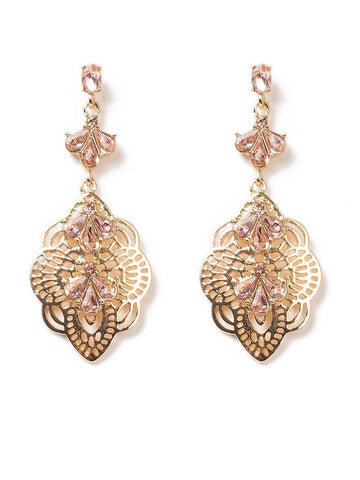 Filigree Pear Stone Pretty Drop Earrings