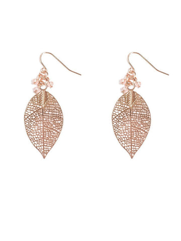 Beaded Filigree Leaf Earrings