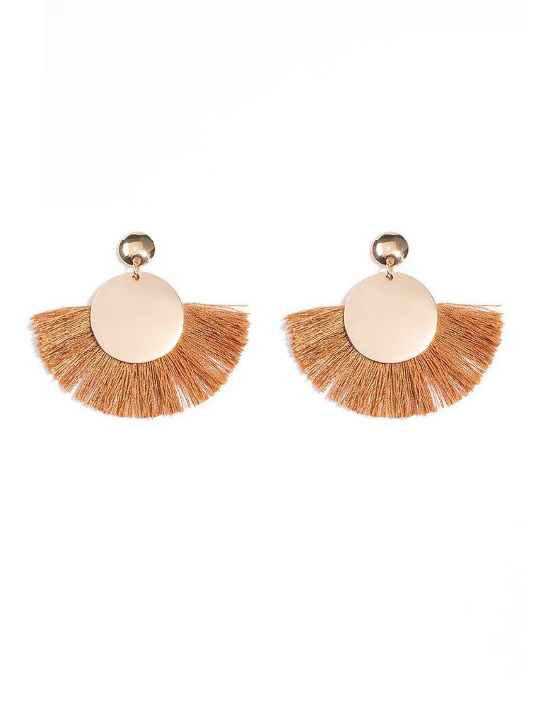 Disc Tassel Drop Earrings