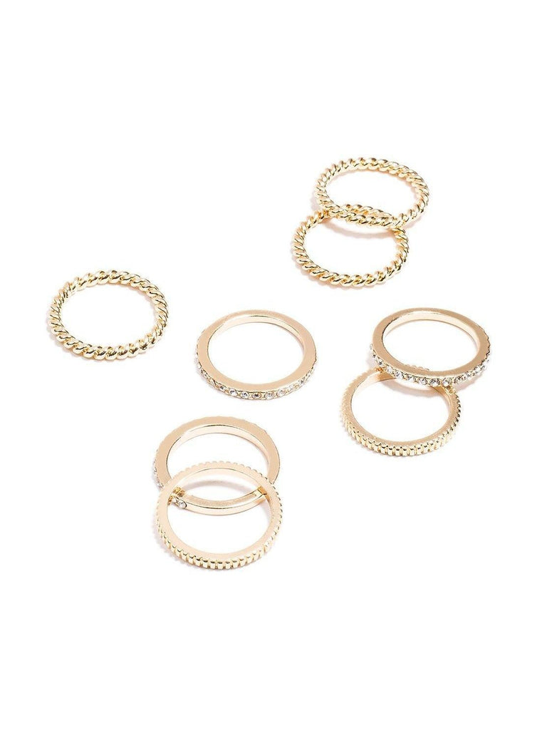 Hammered Diamante Stone Multi Pack Rings - Medium