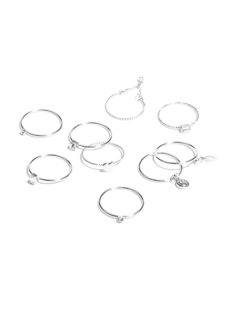 Diamante Heart Multi Pack Rings - Large