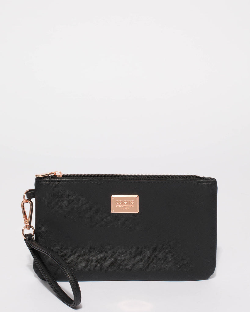 Black Saffiano Brook Wristlet Purse