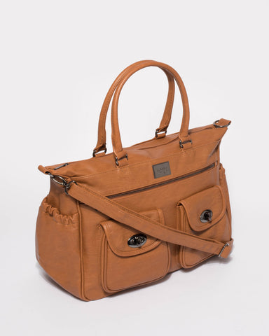 Tan Baby Travel Bag With Gunmetal Hardware