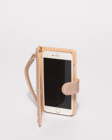 Rose Gold Saffiano Iphone 6, 7 & 8 Plus Purse