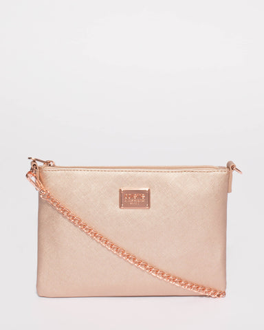 Rose Gold Plain Peta Chain Crossbody Bag