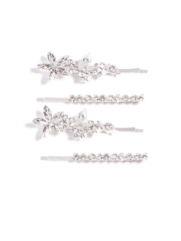 Diamante Stone Flower 4 Pack Hair Pins