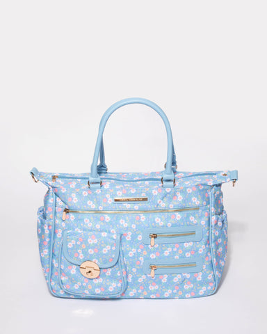 Blue Floral Print Pocket And Zip Baby Bag