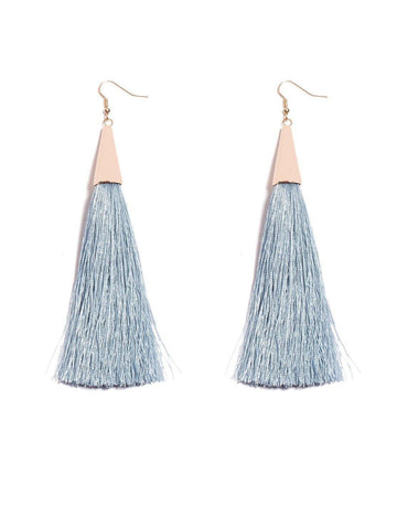 Long Fabric Tassel Statement Earrings