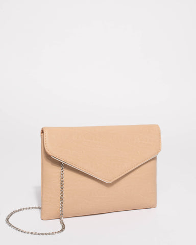 Beige Smooth Samantha Clutch Bag With Silver Hardware