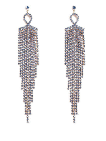 Long Diamante Drop Statement Earrings