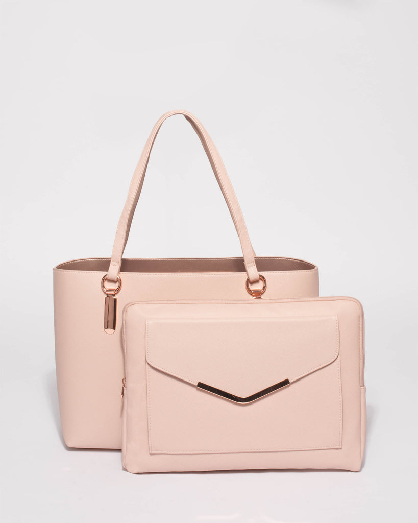 Pink Angelina Tech Tote Bag With Rose Gold Hardware