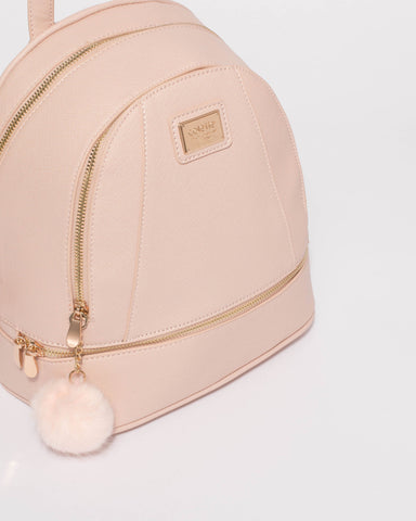 Pink Bridget Medium Backpack With Gold Hardware