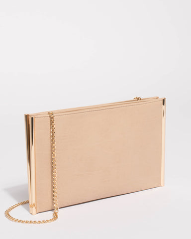 Beige Dany Double Pouch Clutch Bag