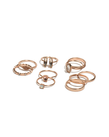 Crystal Rose Gold Tone Fine Mixed Ring Pack - Small