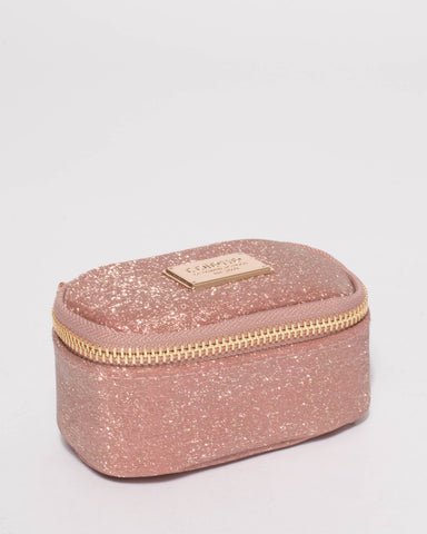 Rose Gold Glitter Jewel Purse