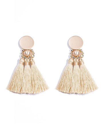 Circle Stud Triple Tassel Statement Earrings