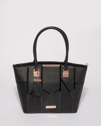 Black Annie Tassel Tote Bag With Rose Gold Hardware