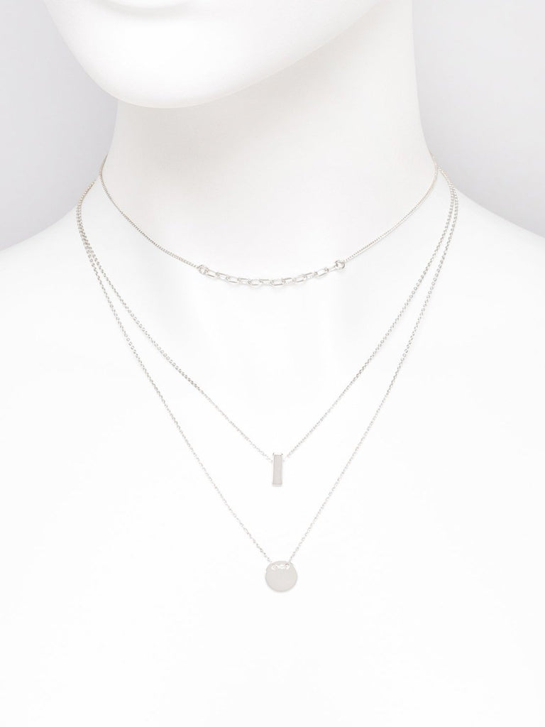 Link Bar Circle Fine 3 Pack Necklace