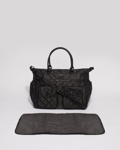 Black Quilted Baby Bag With Matte Black Hardware