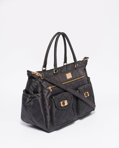 Black Quilted Travel Baby Bag With Gold Hardware